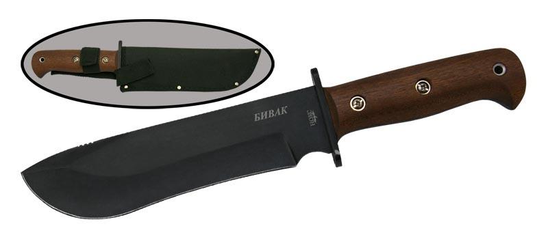 Нож Бивак НУНожи Ворсма<br>Туристический нож, в основе конструкции которого лежит британский армейский нож выживания. Но отечественная модель массивнее. Простая, надежная конструкция, используемая туристами, охотниками и рыбаками.<br>
