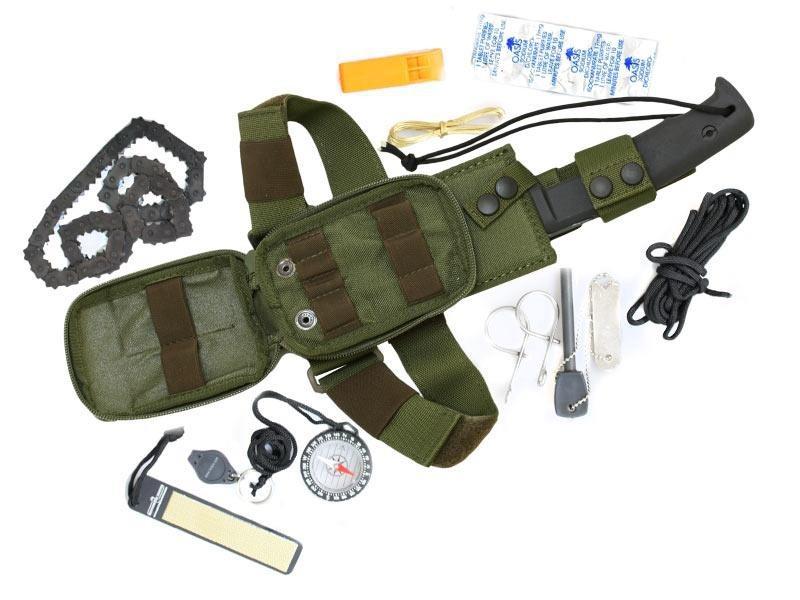 Набор выживания Selvans Survival Kit, GreenОхотнику<br>Набор выживания Selvans Survival Kit, Green, свисток, цепнаяпила, специальные таблетки для очистки воды, компас, меднаяпроволока, огниво, светящийся стержень, точилка, нейлоновый шнур длиной 2.5 метра.<br>