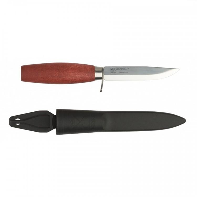Нож Morakniv Classic 611, углеродистая сталь, береза, красныйШведские ножи Mora<br>Нескладной нож Morakniv Classic 611 является довольно популярным режущим изделием, которое нашло свое применение не только в походных условиях, но и в быту. Главной особенностью данной модели есть ее прочное и износостойкое лезвие, созданное из высококачественной углеродистой стали.<br>Толщина лезвия позволяет применять на нож повышенную нагрузку без боязни повредить клинок, а острая режущая кромка гарантирует точный и ровный рез. Клинок Morakniv Classic 1 легко вынимается из рукоятки, созданной из натуральной древесины. Материал изготовления рукоятки обеспечивает максимальный комфорт пользователю и приятные тактильные ощущения, что особенно уместно во время пониженных температур, так как рукоятка всегда остается теплой. В комплекте с ножом идут прочные и практичные ножны. Полированное лезвие ножа Мора 611 из углеродистой стали дополняют гарда и рукоять бордового цвета из шведской березы. Чехол из черного пластика надежно предохраняет клинок.<br><br>Полированное лезвие ножа Мора 611 из углеродистой стали дополняют гарда и рукоять бордового цвета из шведской березы.<br>Чехол из черного пластика надежно предохраняет клинок.<br>Длина клинка: 98 мм<br>Максимальная толщина клинка: 2,0 мм<br>Максимальная ширина клинка: 16 мм<br>Сталь: высокоуглеродистая (требует ухода), 59-60 HRC<br>Ножны: черный пластик<br>Вес: 77 грамм<br><br>Производитель: Mora of Sweden (Morakniv), Швеция Страна происхождения: Швеция<br>Напоминаем, что углеродистая сталь, хоть и имеет преимущества над нержавеющей но, подвержена коррозии, поэтому следует хранить нож сухим. После использования протереть его сухой тканью или кускомбумаги.<br>