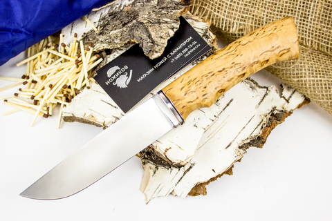 Нож Клык, M390, мельхиор, карельская береза - Nozhikov.ru