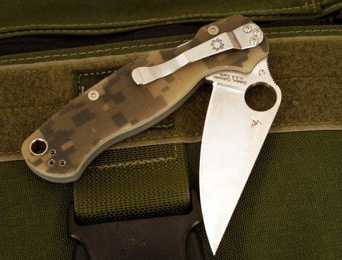 Фото 3 - Нож складной Para Military 2 - Spyderco C81GPCMO2, сталь CPM® S30V™ Satin Plain, рукоять стеклотекстолит G10, цифровой камуфляж (Digi Camo)