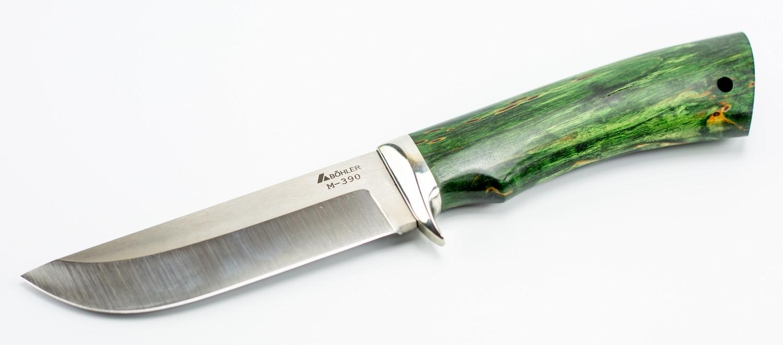 Нож туристический Пегас, сталь M390, мельхиор, карельская березаНожи Ворсма<br>Нож туристический Пегас, сталь M390, мельхиор, карельская береза<br>