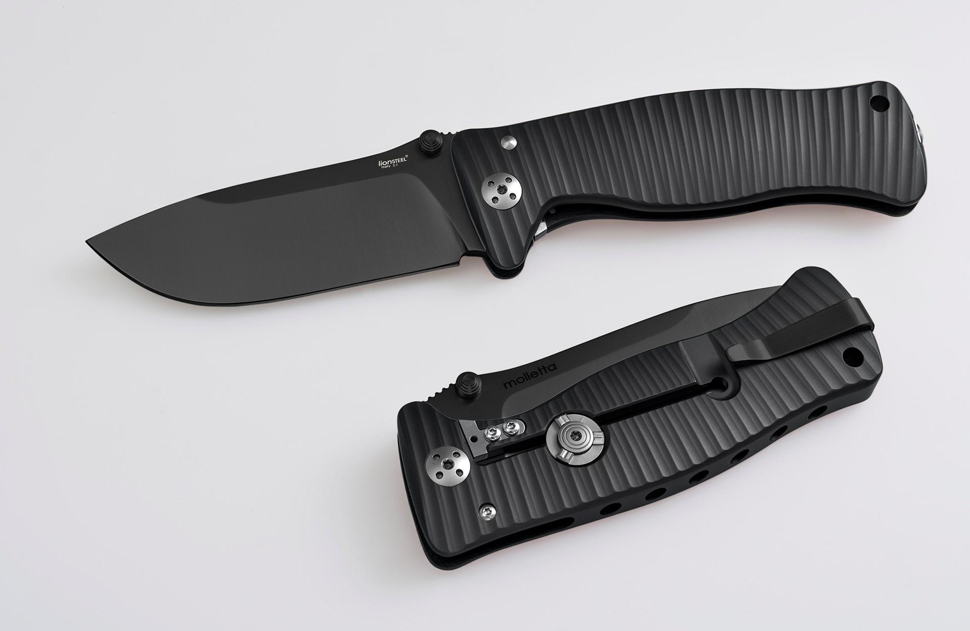 Фото 2 - Нож складной SR-1, Solid® Black Anodized Aluminum Handle, Black MilSpec Finish D2 Tool Steel от Lion Steel