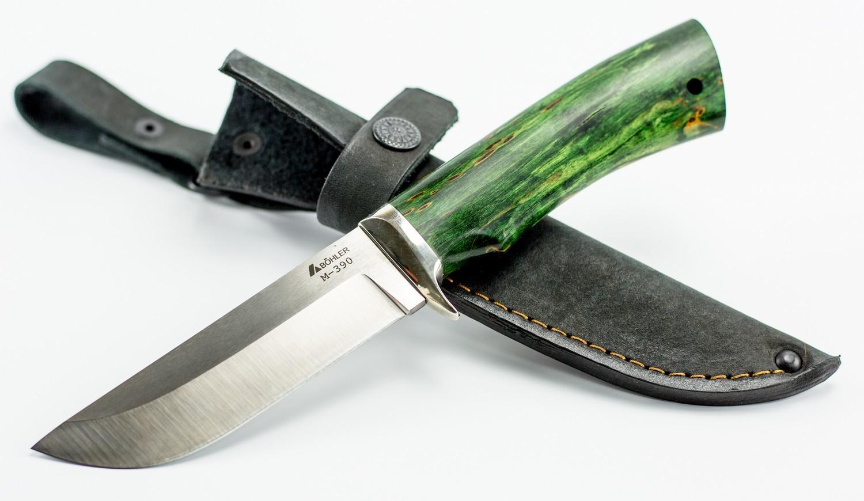 Нож туристический Пегас, сталь M390, мельхиор, карельская береза