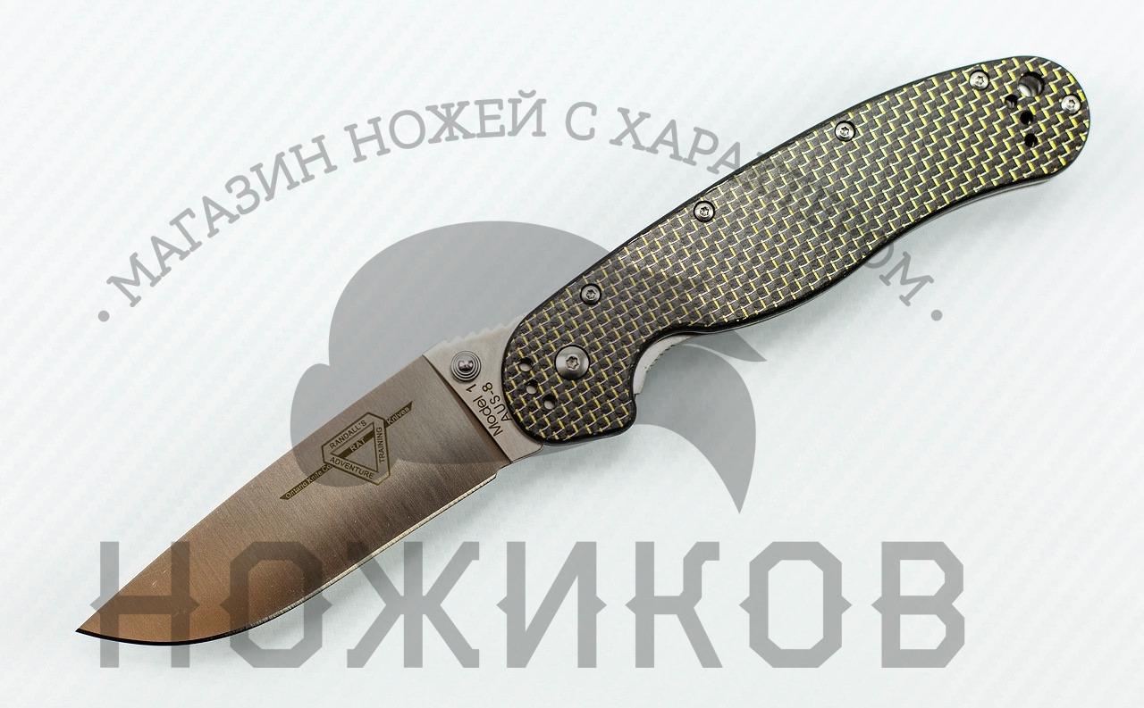 Складной нож Rat-1, карбон черный складной нож ontario rat с черным клинком и черной рукоятью