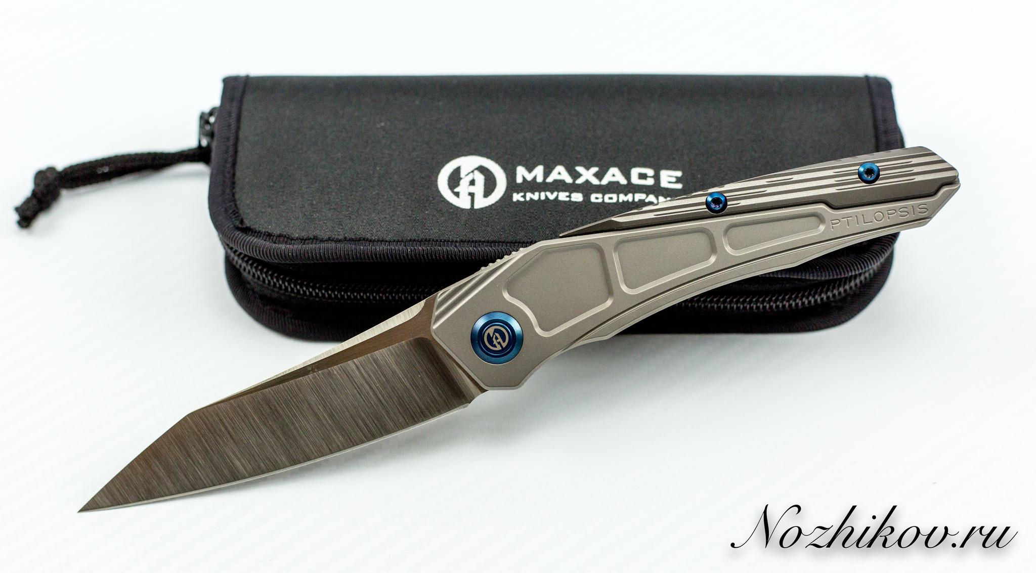 Складной нож Maxace Ptilopsis сталь M390Раскладные ножи<br>В НАЛИЧИИ ТОЛЬКО ВАРИАНТ СЕРОГО ЦВЕТА!!СКЛАДНОЙ НОЖ MAXACE PTILOPSIS СТАЛЬ M390 сочетает в себе инновационные материалы, современный дизайн и максимально брутальный внешний вид. Такой нож станет звездой в любой коллекции. Нож можно носить при себе, или можно поместить на коллекционный ложемент и любоваться. Клинок ножа выполнен из порошковой стали высокой твердости, что обеспечивает сохранность режущей кромки в течение длительного времени. Нож легко затачивается до бритвенной остроты. Рукоятка ножа выполнена из облегченного титанового сплава, который используется в космической промышленности.<br>