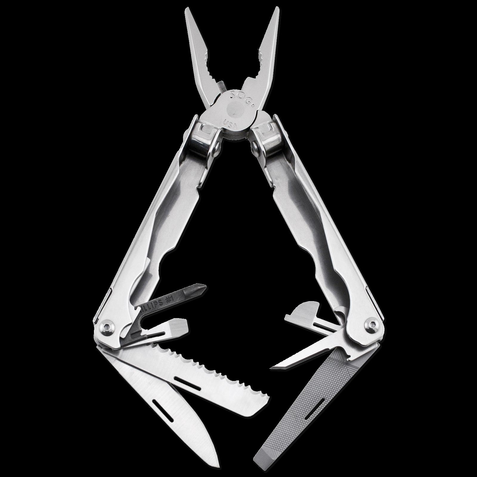 Мультитул Paratool, серебристыйSOG<br>Paratool - компактный мультитул с оригинальной системой открытия плоскогубцев. Для приведения их в рабочее положение нужно нажать на рычаг, затем перехватить инструмент за пассатижи, уперев в бедро или любую твердую поверхность, закончить раскрытие инструмента. Описание процесса довольно мудрёное, но на деле все выглядит легко и просто. Данная конструкция разработана для обеспечения функционирования мультитула в двух плоскостях. Инструмены: пассатижи, кусачки для проволоки, лезвие прямое / серрейторное, напильник, отвертка, отвертка Philips, шило, открывалка для бутылок/консервов, линейки, кольцо для шнурка.<br>Длина в закрытом состоянии - 10,92 см., длина в открытом состоянии - 16,27 см. Вес - 162 гр. Поставляется в нейлоновом чехле.<br>