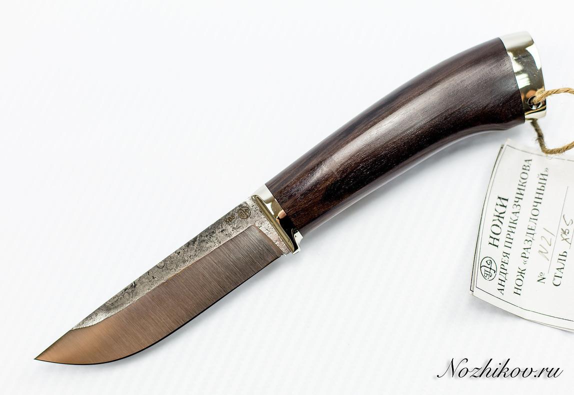 Нож Разделочный №21 из кованой стали ХВ5Ножи Павлово<br>Сталь: ХВ5Рукоять: граб, литье мельхиорДлина клинка (мм.): 111 Наибольшая ширина клинка (мм.): 28 Толщина обуха клинка (мм.): 3.3 Толщина подвода (мм.): 0,3-0,5 Твердость стали: 64-65Hrc Общая длина ножа (мм.): 245 Поверхность клинка: Сатин Спуски клинка: Прямые<br>