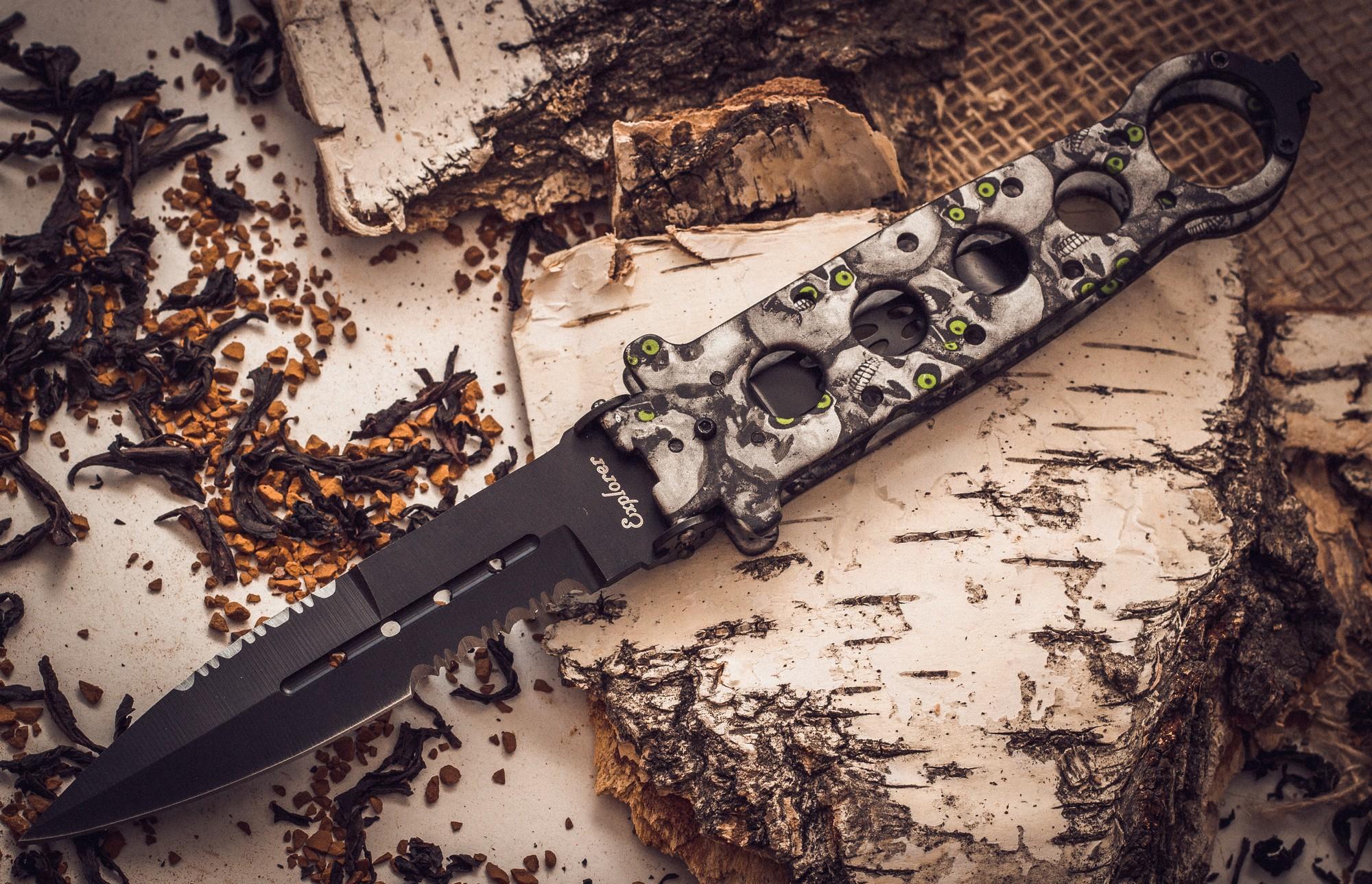 Нож-рамка Хамелеон, рукоять с черепамиРаскладные ножи<br>Нож Хамелеон, рукоять с черепами<br>