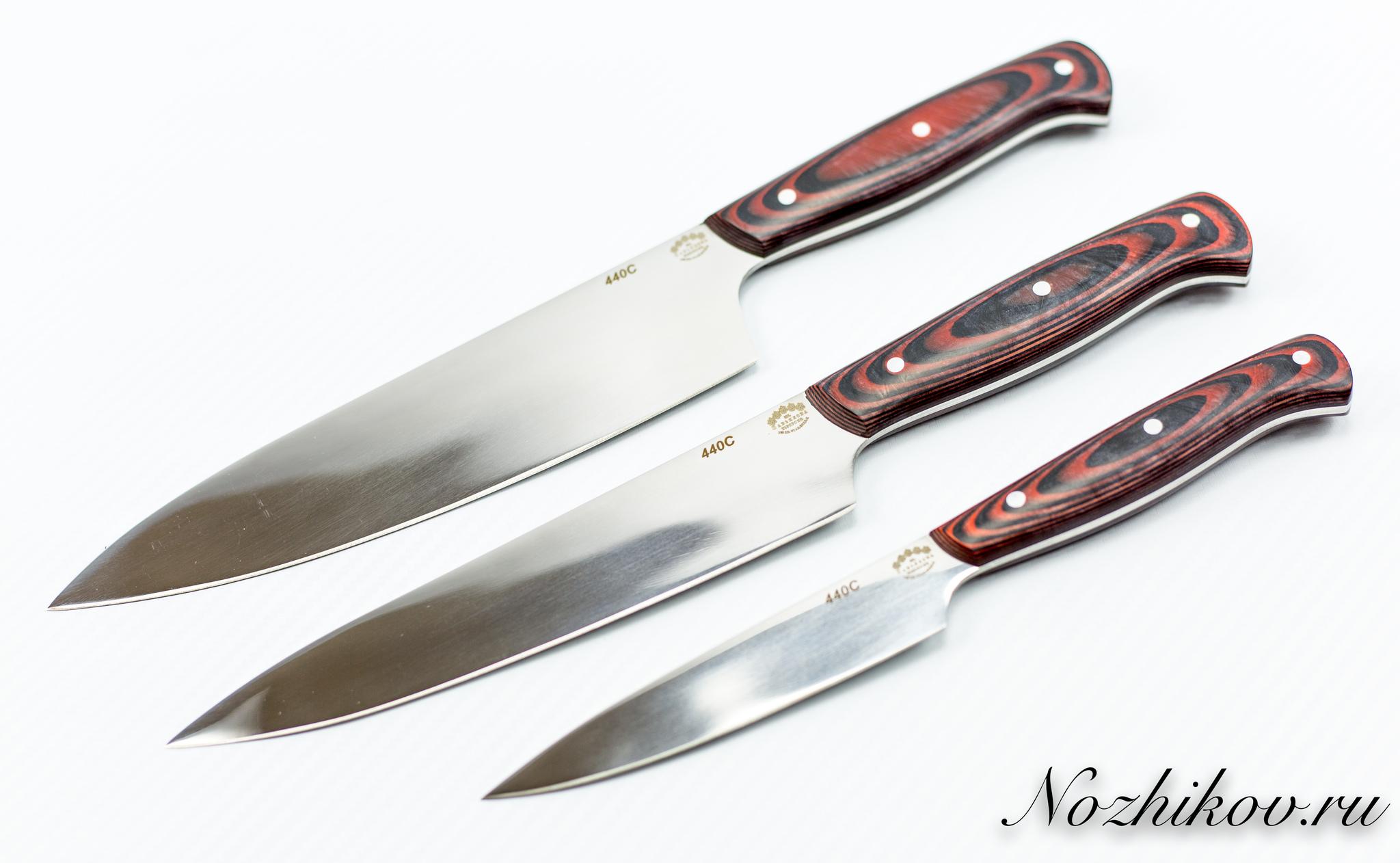 Фото 4 - Набор ножей для кухни, сталь 440С ручка микарта от Кузница Завьялова