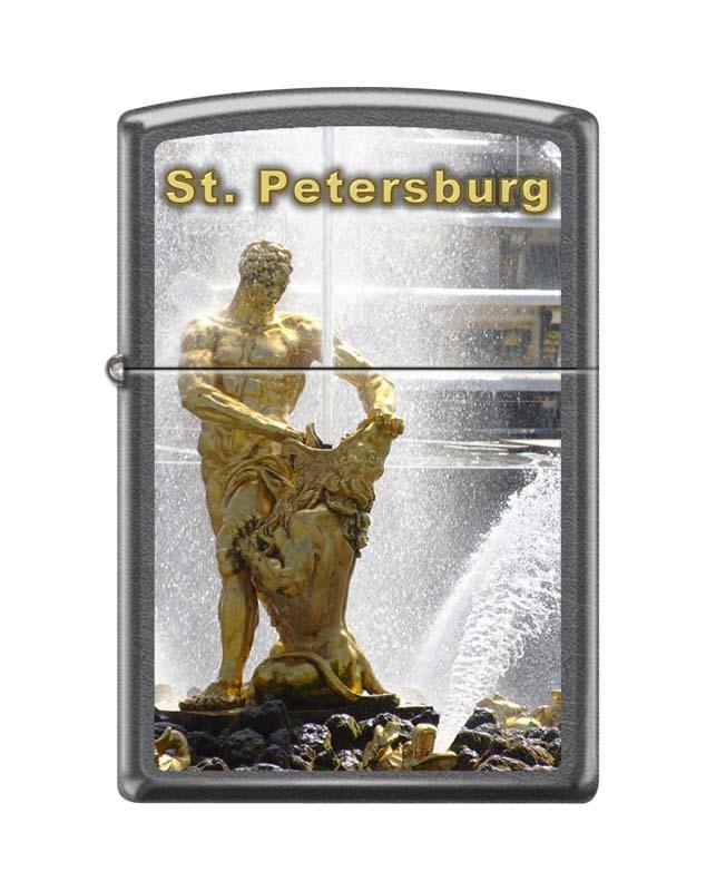 Зажигалка ZIPPO Петергоф с покрытием Gray Dusk часы зажигалка