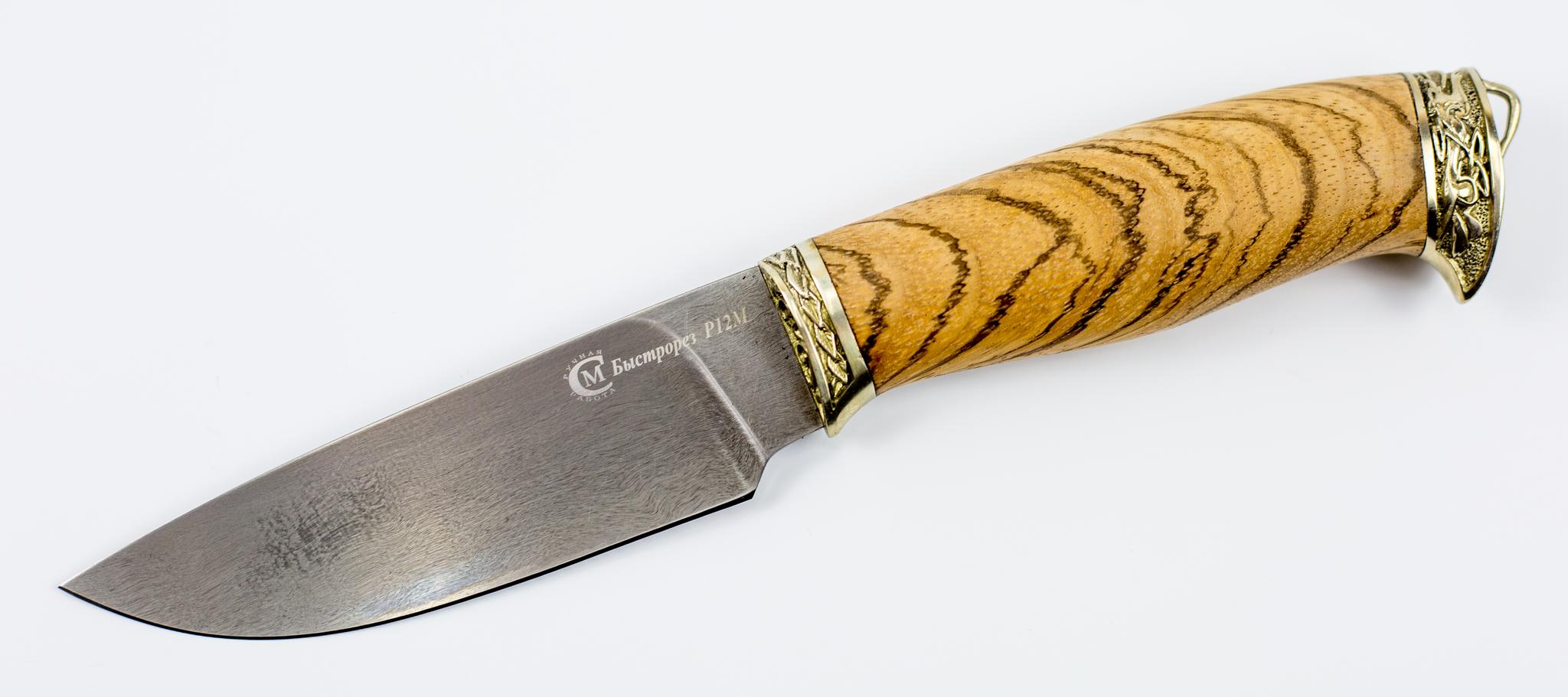 Нож Сокол, быстрорез Р12МНожи Ворсма<br>Сталь Р12М - быстрорезРукоять- ОрехОбщая длина, мм 240Длина клинка, мм 122Ширина клинка, мм 35,8Толщина клинка, мм 3,4Длина рукояти, мм 118Толщина рукояти, мм 23Твёрдость клинка, HRC 62<br>