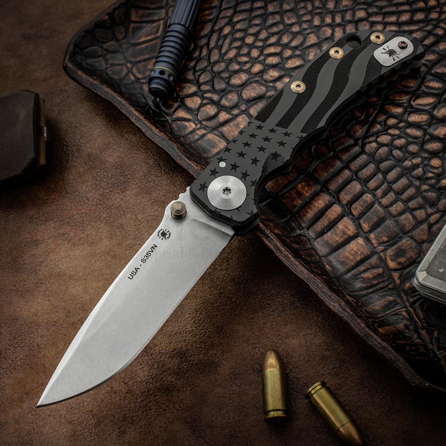 Нож складной Spartan Harsey Folder, Stonewashed Crucible CPM® S35VN™ Blade, Black PVD-Coating Titanium Handles with USA Flag Engraved, Bronze Anodized Hardware 10.0 см. нож складной exskelibur i titanium cpm s35vn steel
