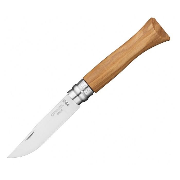 Нож Opinel №6, нержавеющая сталь, рукоять из оливкового дереваРаскладные ножи<br>Модель Opinel №6 — это один из представителей серии Tradition. Такой нож отлично подходит для повседневного использования или же применения на рыбалке, охоте, пикнике. Он небольшой по размеру, а к тому же, еще и складывается, что позволяет носить этот нож в кармане. Такое ношение будет полностью безопасным, поскольку нож оснащен замком, который не дает ему открываться самовольно. Это муфтовый фиксатор, известный под названием viroblock. Его принцип работы заключается в том, что на металлическом больстере имеется продольный разрез и эта деталь проворачивается по кругу, фиксируя уже открытый или закрытый клинок.<br>Лезвие ножа выполнено из нержавеющей стали шведского производства. Это известная своим качеством марка 12C27, имеющая высокие показатели коррозийной стойкости. Длина лезвия равна 70 мм. Оно гладко заточено и по форме соответствует ножам drop-point. На лезвии имеется небольшая выемка, зацепив которую ногтем, можно легко открыть сложенный нож.<br>Рукоятка изготовлена из оливкового дерева. Она имеет натуральный светлый цвет, круглая в сечении, немного расширяется и становится более овальной к концу.<br>