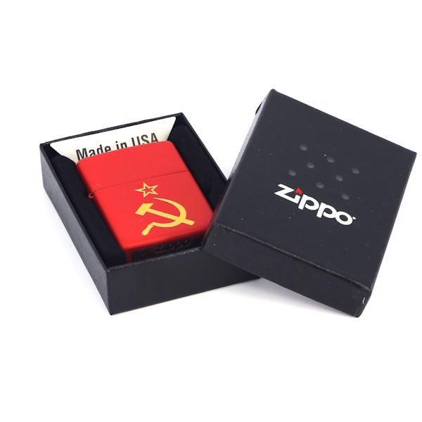Фото 3 - Зажигалка ZIPPO Серп и Молот Red Matte, латунь с порошковым покрытием, красная, матовая, 36х56х12 мм