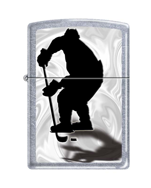 Зажигалка ZIPPO Хоккеист, латунь/сталь с покрытием Street Chrome™, серебристая, матовая, 36x12x56 мм зажигалка zippo zippo с покрытием brushed chrome латунь сталь серебристая матовая 36x12x56 мм