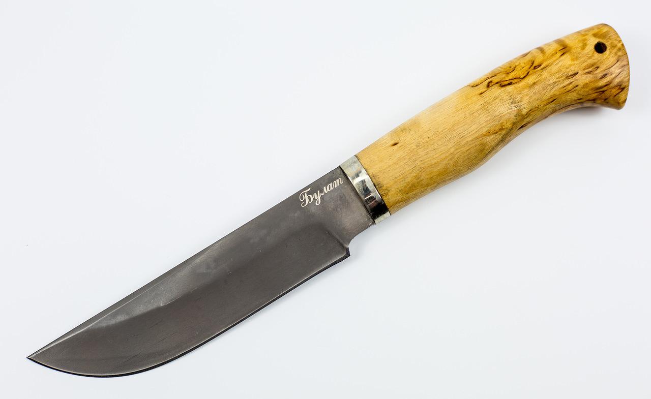 Нож Егерь булат, карелкаНожи Ворсма<br>Сталь клинка: БулатРукоять: Карельская березаГарда: МельхиорТвердость клинка (HRC): 63-64Общая длина (мм): 270Длина клинка (мм): 150Длина рукояти (мм): 120Ширина клинка (мм): 32Толщина рукояти (мм): 23Толщина обуха (мм): 3-3,5<br>