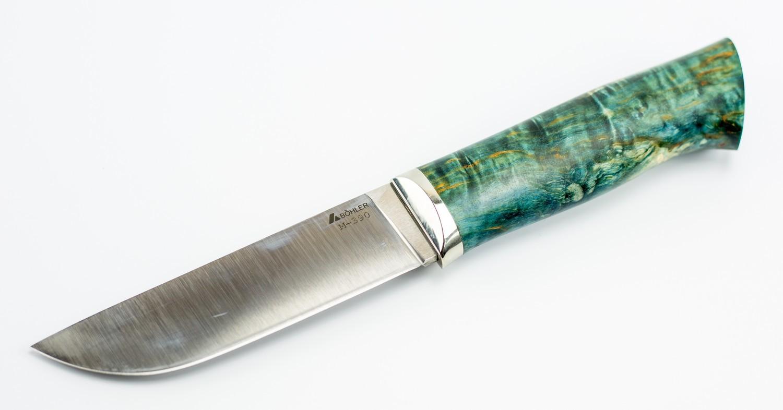 Нож туристический Граф, сталь M390, мельхиор, карельская береза