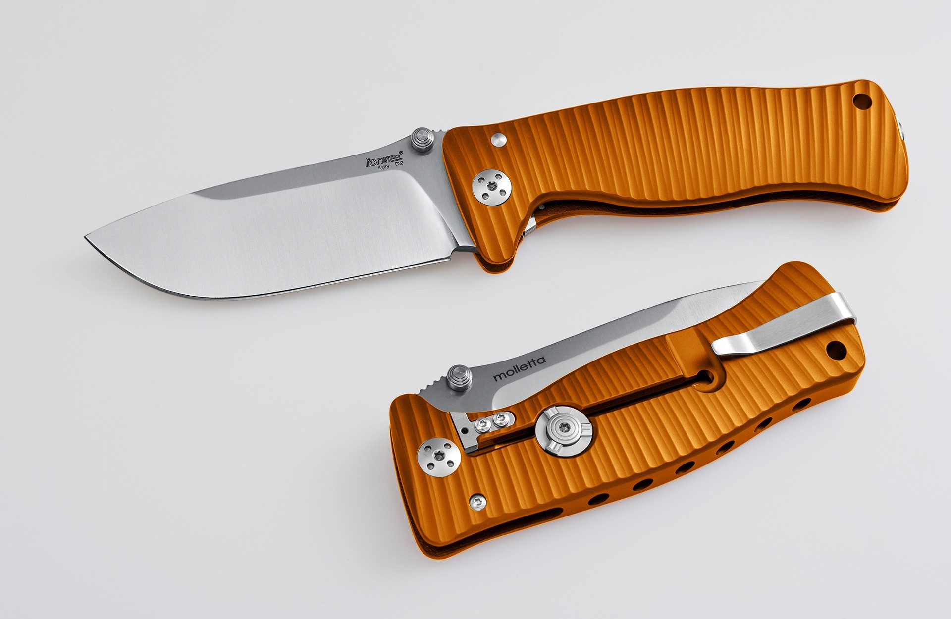 Нож складной SR-1, Solid® Orange Anodized Aluminum Handle, Satin Finish D2 Tool Steel