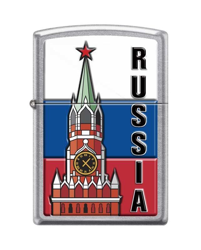 Зажигалка ZIPPO Московский кремль, латунь/сталь с покрытием Street Chrome™, серебристая, 36x12x56 мм