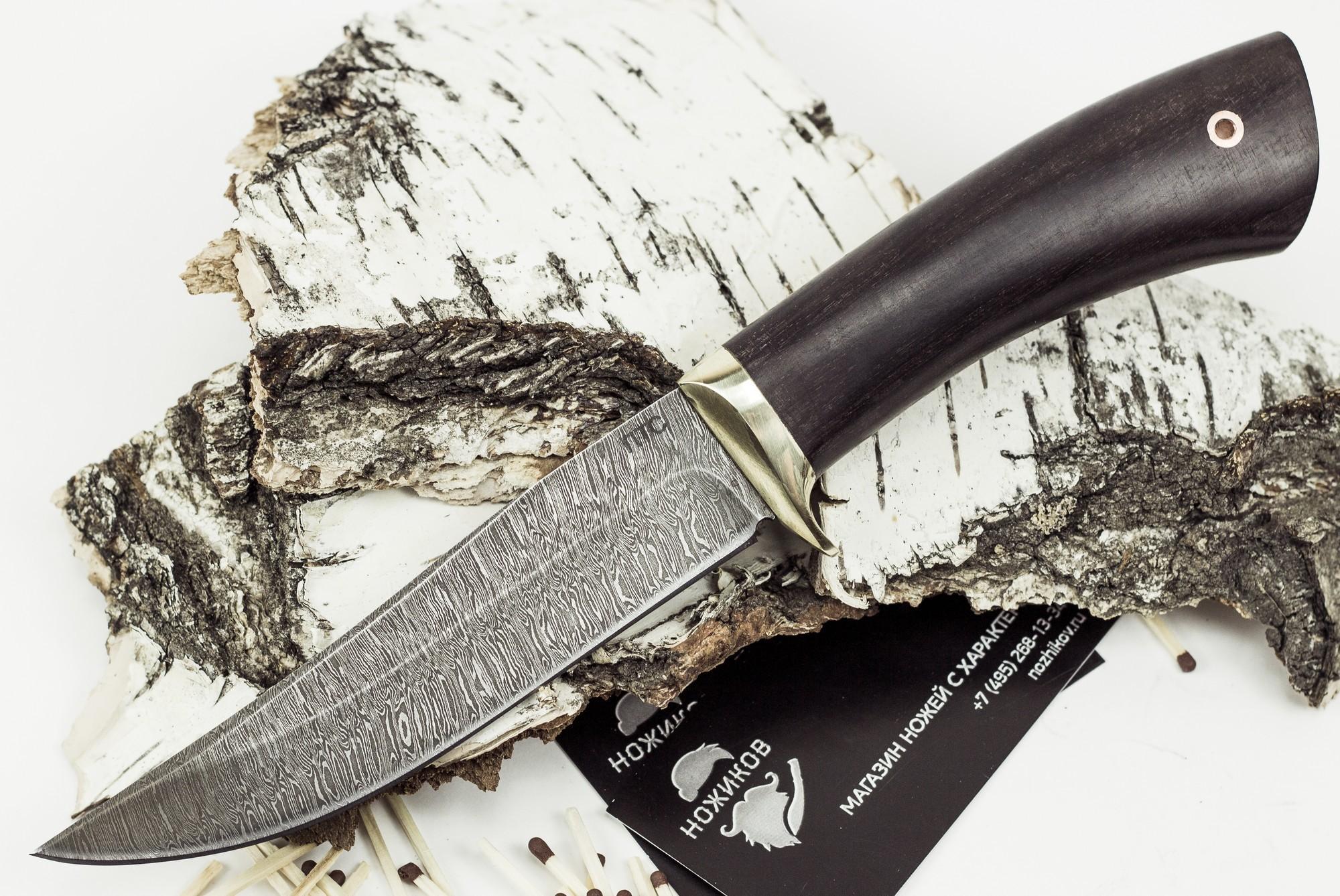 Нож Лис-2, дамасская сталь нож страйт сталь 65х13
