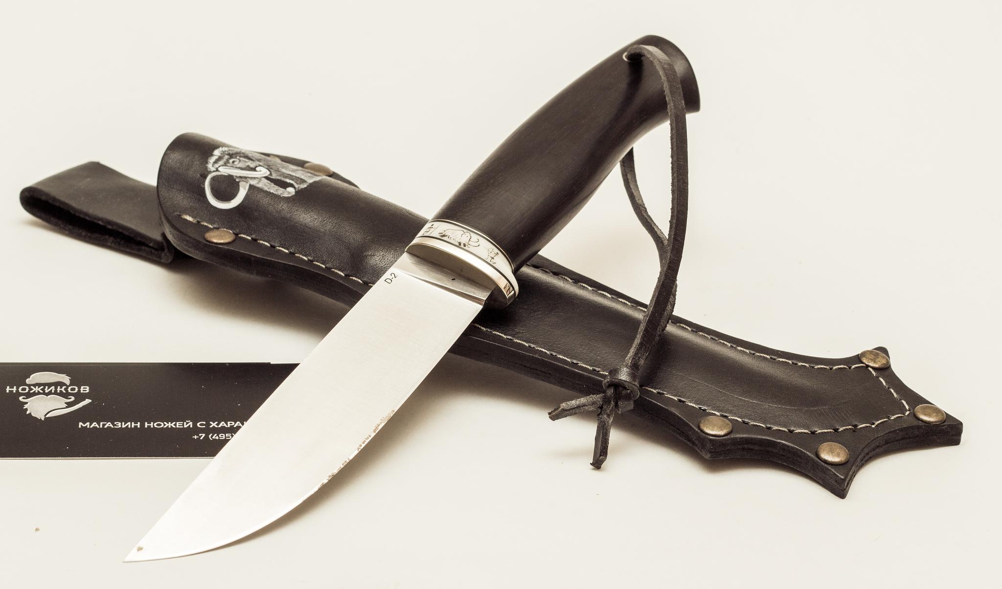Нож Лиман, сталь D2, черный граб скрим-шоуНожи из стали D2<br><br>