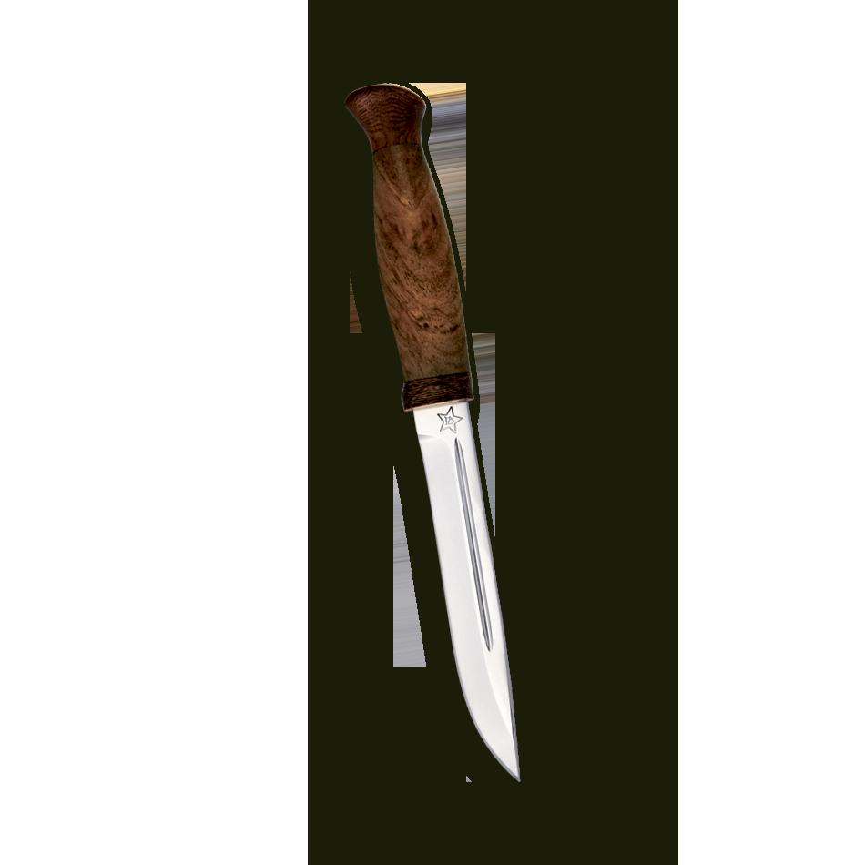 Нож Финка-3, дерево, 95х18, АиРНожи разведчика НР, Финки НКВД<br>Универсальный легкий, средней величины нож без упора. Неширокий прочный клинок толщиной 4 мм с приспущенным обушком имеет вогнутые линзовидные спуски более чем на половину ширины клинка, образующие тонкое лезвие. На голомени с обеих сторон клинка выбраны узкие долы, добавляющие жесткости клинку. Небольшая эргономичная рукоять на удивление хорошо ложится даже в большую ладонь. А расширенная головка рукояти хорошо способствует ловкому извлечению из ножен. Монтаж клинка сквозной, неразборный. Заслуженно пользуется популярностью у покупателей.<br>В комплекте:<br><br>кожаные ножны<br>сертификат соответствия о том, что нож не является холодным оружием<br>паспорт изделия<br>мягкий текстильный кейс с логотипом компании<br>