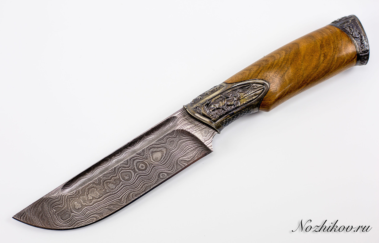 Авторский Нож из Дамаска №4, Кизляр авторский нож из дамаска 11 кизляр