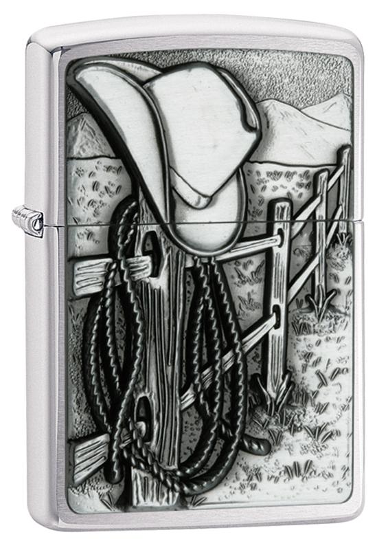 Зажигалка ZIPPO Classic Ковбой с покрытием Brushed Chrome, латунь/сталь, серебристая, матовая, 36x12x56 ммВоенному<br>Зажигалка ZIPPO Classic с покрытием Satin Chrome™, латунь/сталь, серебристая, матовая, 36x12x56 мм<br>