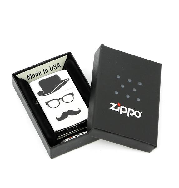 Фото 2 - Зажигалка ZIPPO Moustache & Hat, латунь с покрытием Brushed Chrome, серебристый, 36х12x56 см