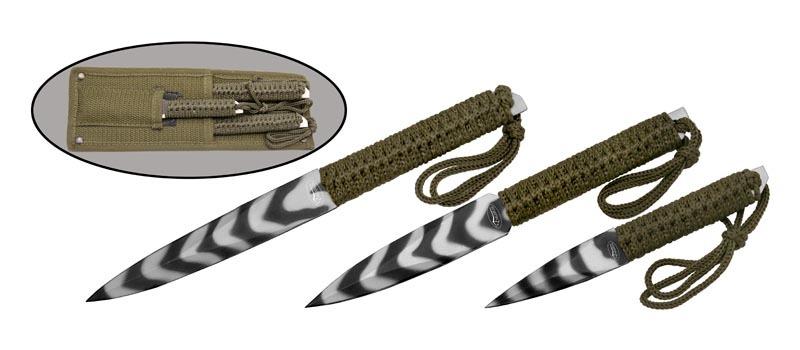 Набор спортивных ножей Камуфляж420<br>Набор из трёх ножей. Oбщая длина- 220/202/150 мм Длина клинка- 125/105/75 мм Толщина клинка- 3,0 мм Сталь- 420Рукоять- обмотка паракордом Чехол- нейлон<br>