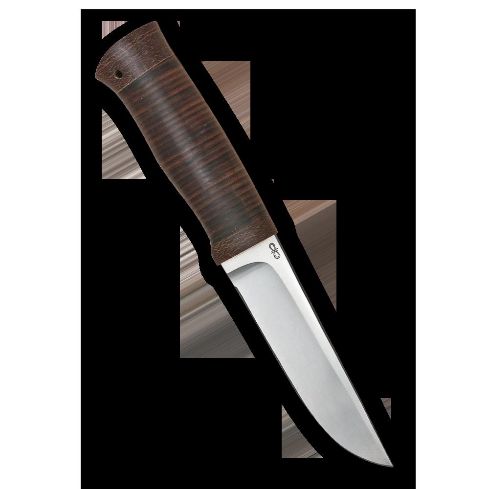 Нож Следопыт, АиР, кожа, 95х18Ножи Златоуст<br>Солидный нож с серьезным клинком. Спуски высокие, слегка вогнутые. Пята узкая – нож «заточен» под серьезную работу по обдирке и разделке туши. Толщина клинка в обухе составляет 3,5 мм, что оптимально для охотничьего и туристического ножа, который не предполагается использовать в качестве топора или кинжала. Обух клинка чуть заметно спущен вниз. Подводы очень тонкие, что дает ножу хорошее подспорье в резе, ошкуривании, а также работе по дереву строганием. Клинок имеет сквозной монтаж, со стяжным креплением на гайку в торце рукояти. Рукоять довольно толстая, но в работе она вполне удобна. Нож великолепно сбалансирован и посадист. Имеется отверстие под темляк.<br>В комплекте:<br><br>кожаные ножны<br>сертификат соответствия о том, что нож не является холодным оружием<br>паспорт изделия<br>мягкий текстильный кейс с логотипом компании<br>