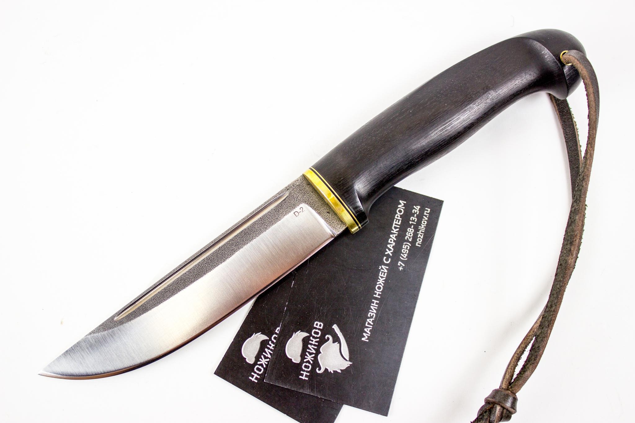 Нож Лиман, сталь D2, черный граб, следы ковкиНожи из стали D2<br><br>