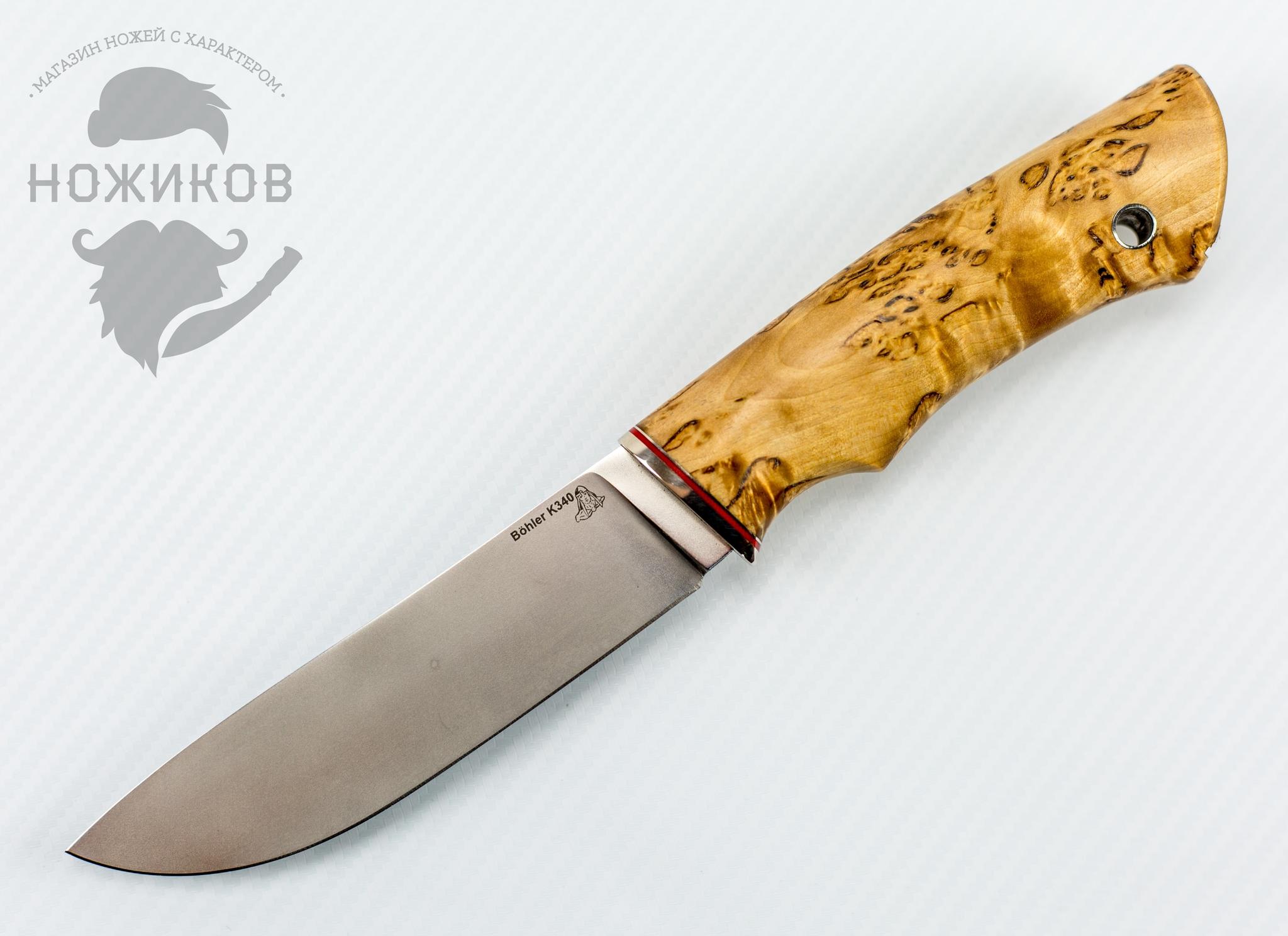 Нож Скинер, К340, мельхиор, карельская береза от ПФК Витязь