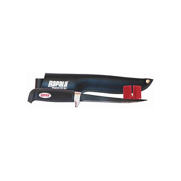 Филейный нож Rapala (лезвие 15 см, тефлоновое покрытие)Ножи филейные<br>Филейный нож с тефлоновым покрытием, которое обеспечивает более мягкое скольжение в отличии от облычной «нержавейки». Гибкий, филейный нож Rapala, с мягкой, резиновой ручкой. Сильный и гибкий кончик лезвия для легкого и уверенного филетирования. Увеличенная гарда для дополнительной безопасности. Поставляется в комплекте с одинарным точилом и практичными ноднами из искуственной текстурированной кожи.<br>