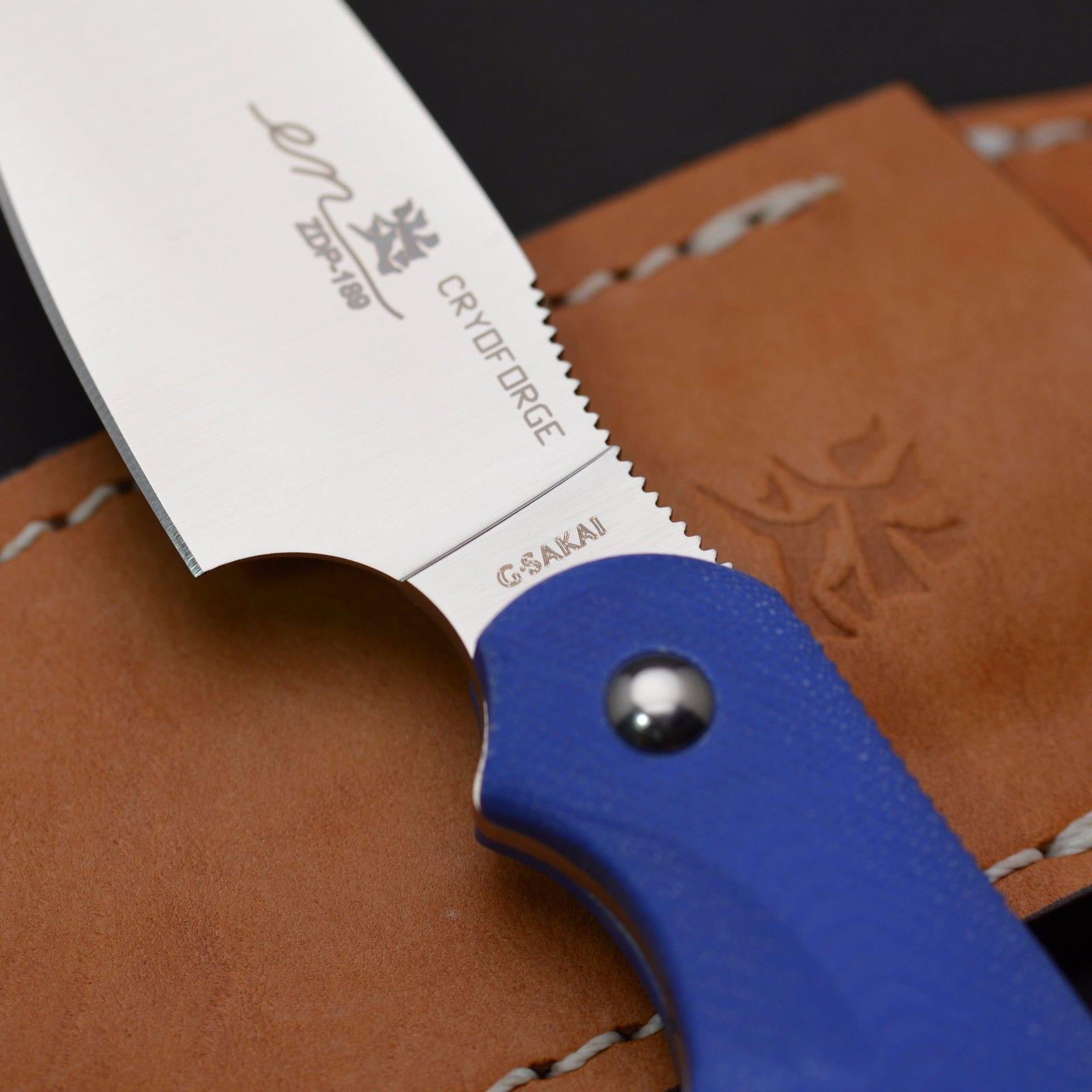 Фото 2 - Туристический нож G.Sakai, Camper En Fixed, ZDP-189, Blue G-10