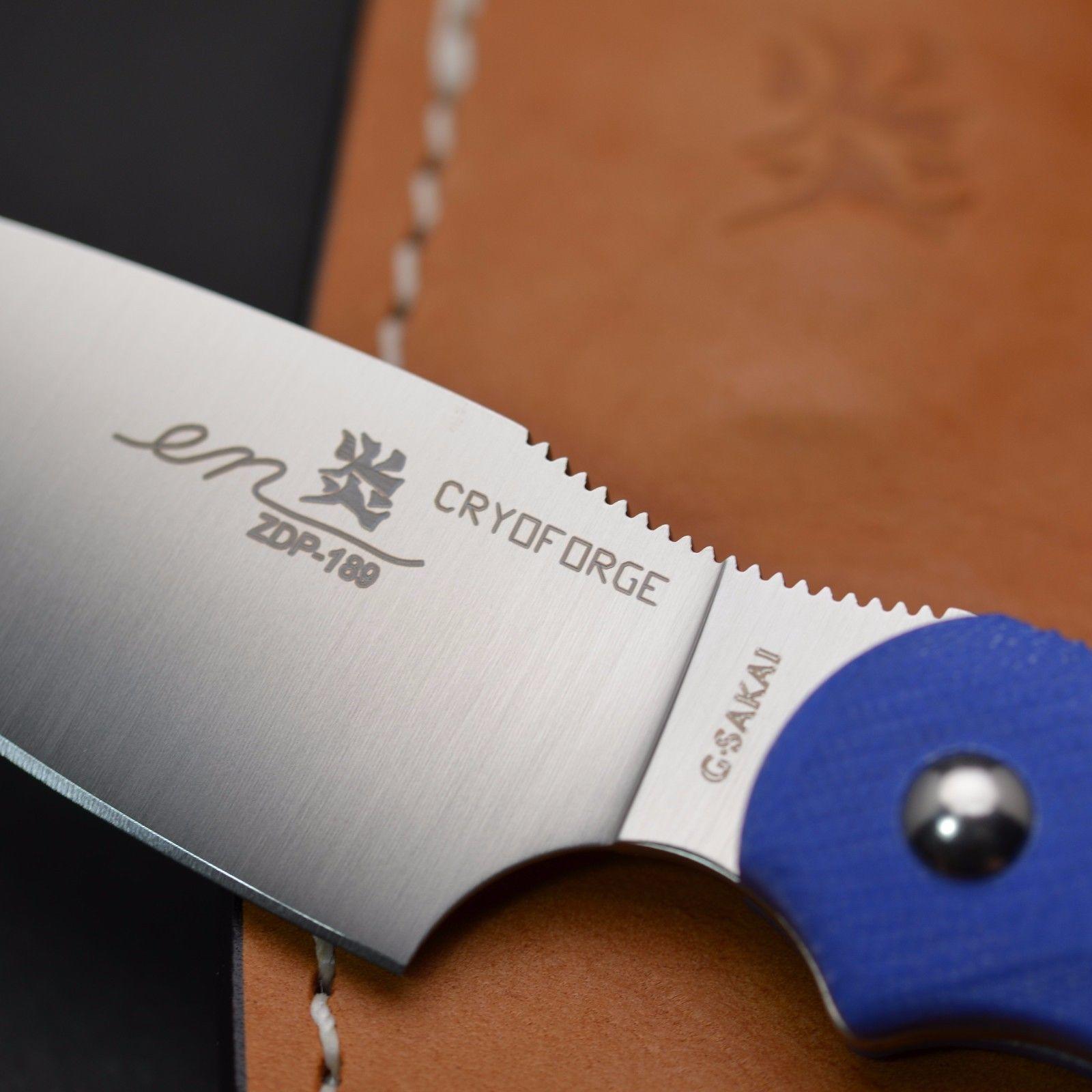 Фото 3 - Туристический нож G.Sakai, Camper En Fixed, ZDP-189, Blue G-10
