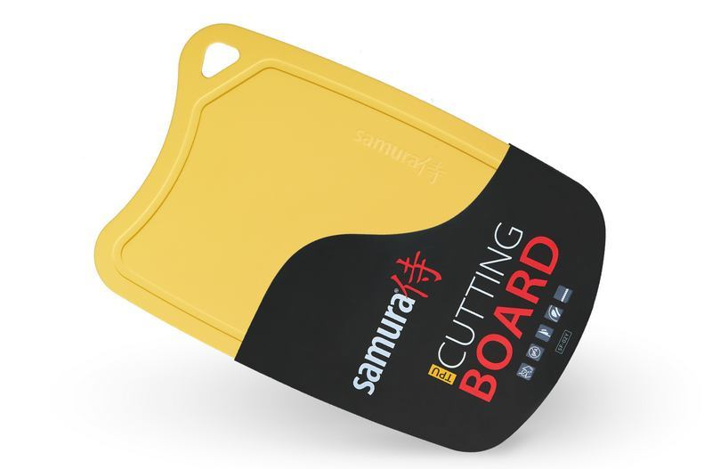 Фото 2 - Доска Samura термопластиковая антибактериальная, 380х250х2 мм, желтая, SF-02Y