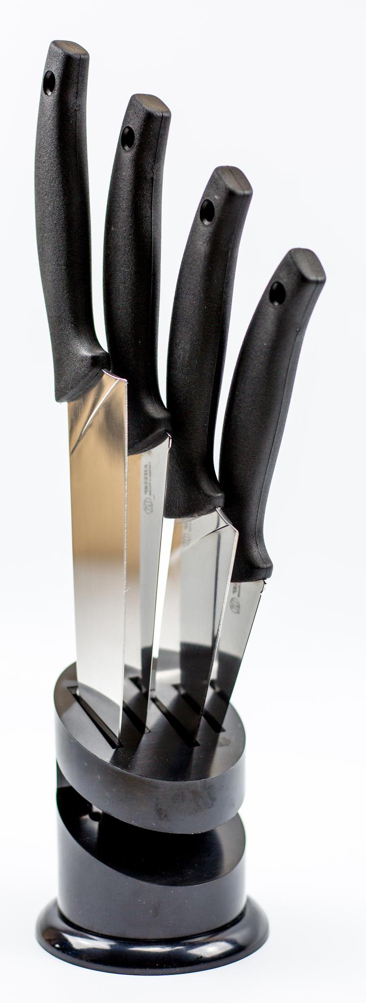 Купить со скидкой Набор кухонных ножей Квартет, Кизляр, с подставкой