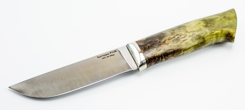 Нож туристический Граф, быстрорез, сталь Р12, мельхиор, карельская береза от Кузница Коваль