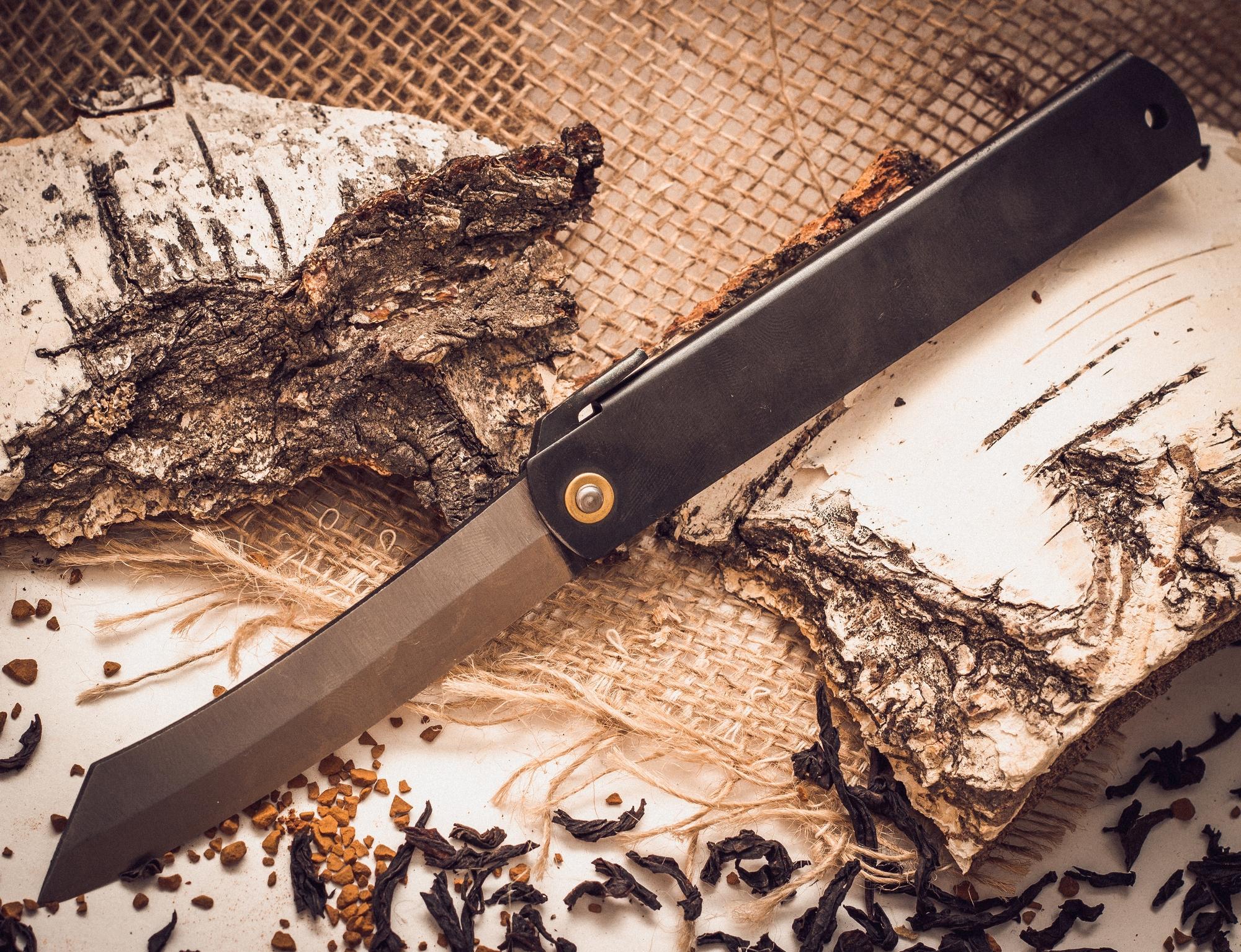 Нож складной, клинок 80мм Hight carbon, рукоять чернаяРаскладные ножи<br><br>