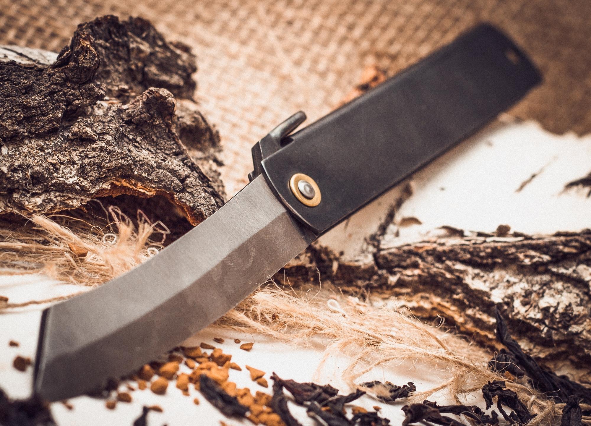 Фото 2 - Нож складной, клинок 80мм Hight carbon, рукоять черная, Nagao Higonokami