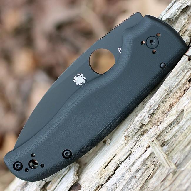 Фото 3 - Складной нож Spyderco Shaman 229GPBK, сталь CPM® S30V™ Black DLC Coated Plain, рукоять стеклотекстолит G10, чёрный