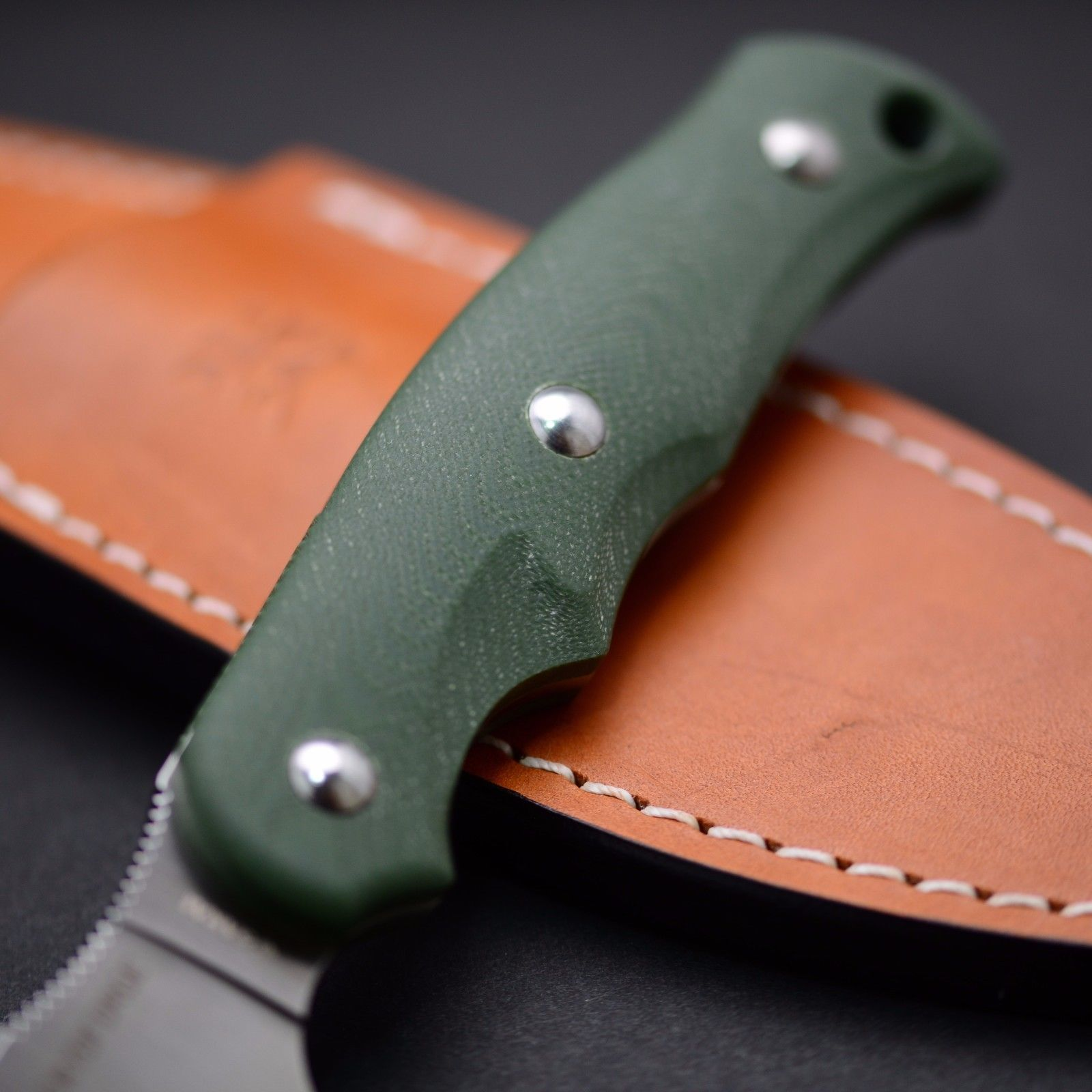 Фото 4 - Туристический нож G.Sakai, Camper En Fixed, ZDP-189, Green G-10
