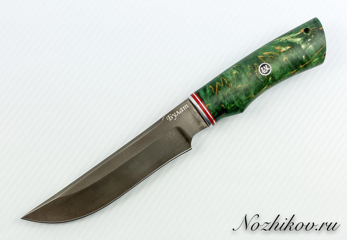 Нож Тайга булат, стабилизированная карельская берёзаНожи Павлово<br>Нож Тайга<br>Характеристики:Длина клинка, мм: 165Длина рукояти, мм: 125Материл клинка: БулатНаибольшая ширина клинка, мм: 35Общая длина, мм: 290Твёрдость стали, HRC: 61-62Толщина обуха, мм: 4Толщина рукояти (в ср. части), мм: 22Ширина рукояти (в ср.части), мм: 30<br>