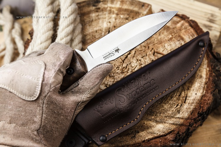 Фото 4 - Туристический нож Corsair AUS-8 Satin+SW, Kizlyar Supreme, орех
