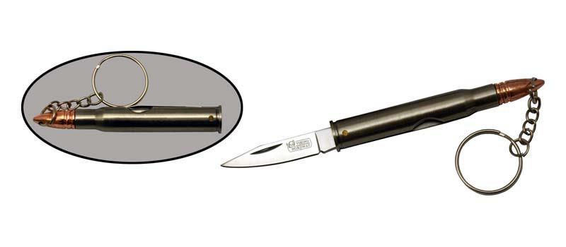 Брелок Нож ПуляРаскладные ножи<br>Oбщая длина- 124 мм Длина клинка- 44 мм Толщина клинка- 2 Сталь- 420Рукоять- металл<br>