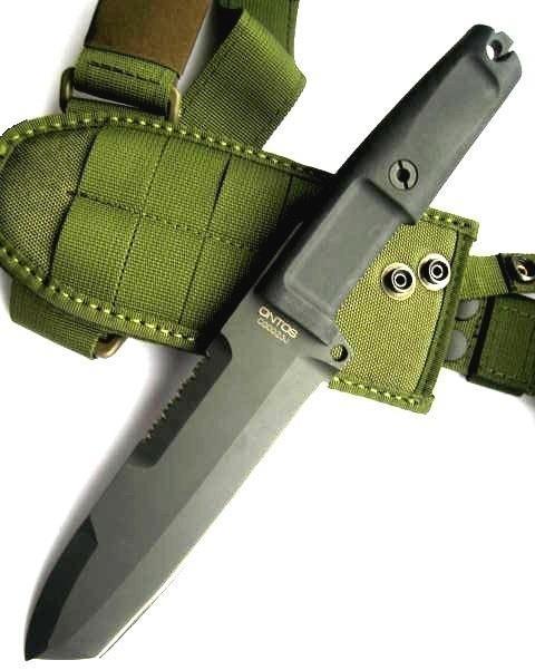 Нож с фиксированным клинком Ontos, Green SheathВоенному<br>Нож с фиксированным клинком Ontos, Green Sheath, клинокчерный, 1/3 верхний серейтор, рукоять черный форпрен, зеленый нейлоновый чехол.<br>