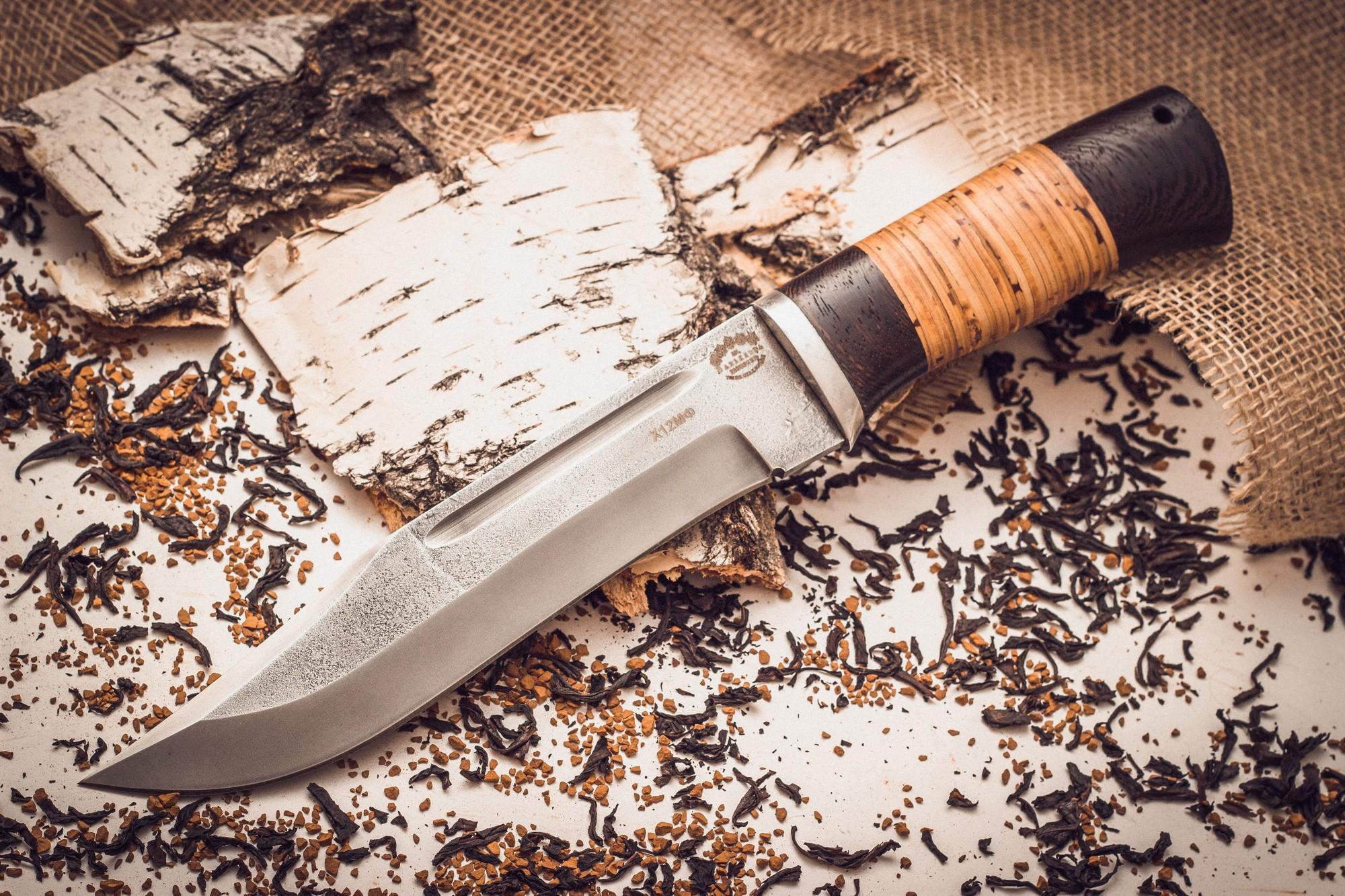 Нож Пустынный орел кованый Х12МФ, береста кованый нож беркут 2 с латунной гардой и навершием х12мф