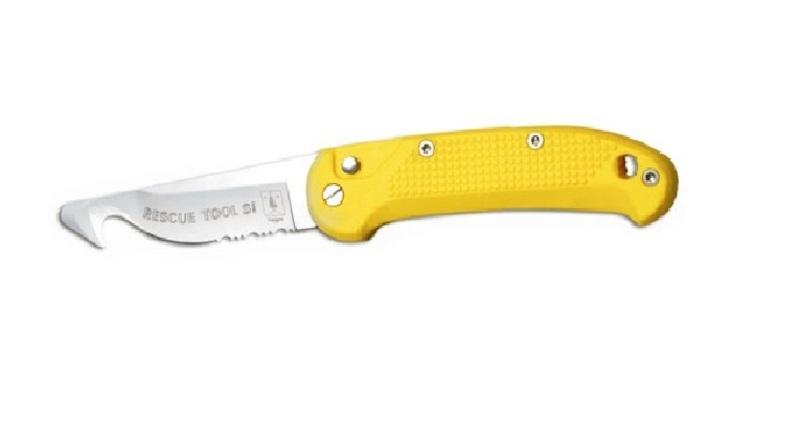 Выкидной нож - стропорез + стеклобой Rescue Tool Glass Breaker Yellow 9.0 см.